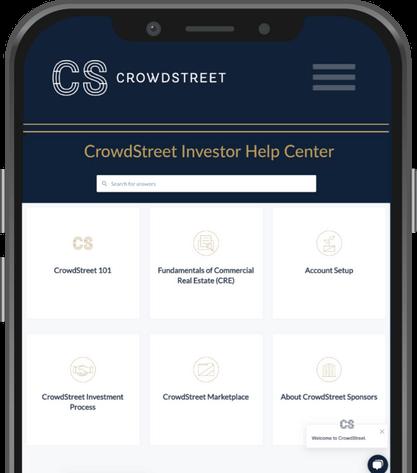 CrowdStreet Real Estate Investor help center mobile